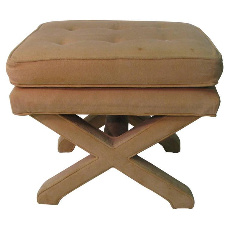 Mid Century Modern Upholstered X Stretcher Ottoman