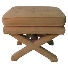 Mid-Century Modern Upholstered X-Stretcher Ottoman