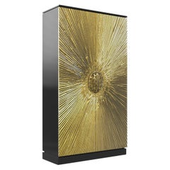 Koket Heive Armoire in Black lacquer and Polished Brass