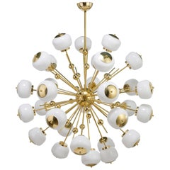 Mid-Century Modern Style, Sputnik Chandelier with Murano Glass Orbs (US Spec)