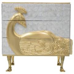 Koket Camilia Nightstand in Polished Brass Base