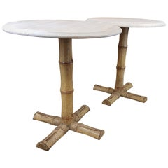 1970s Pair of Cast Iron Faux Bamboo Tables