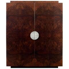 Bond Drinks Cabinet, High Gloss Burr Walnut Veneer with Maple Interior