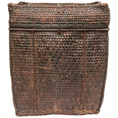 Large Vintage Tribal Storage Basket with Lid from Bhutan, Mid-Late 20th Century