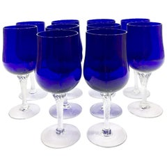 20th Century Cobalt Cut to Clear Crystal Stem Glasses, Set of 10