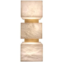 Scatola Wall Sconce - Alabaster Cubes, Brushed Patinated Brass (US Spec)