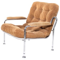 Vintage Chrome Armchair with Corduroy Seats