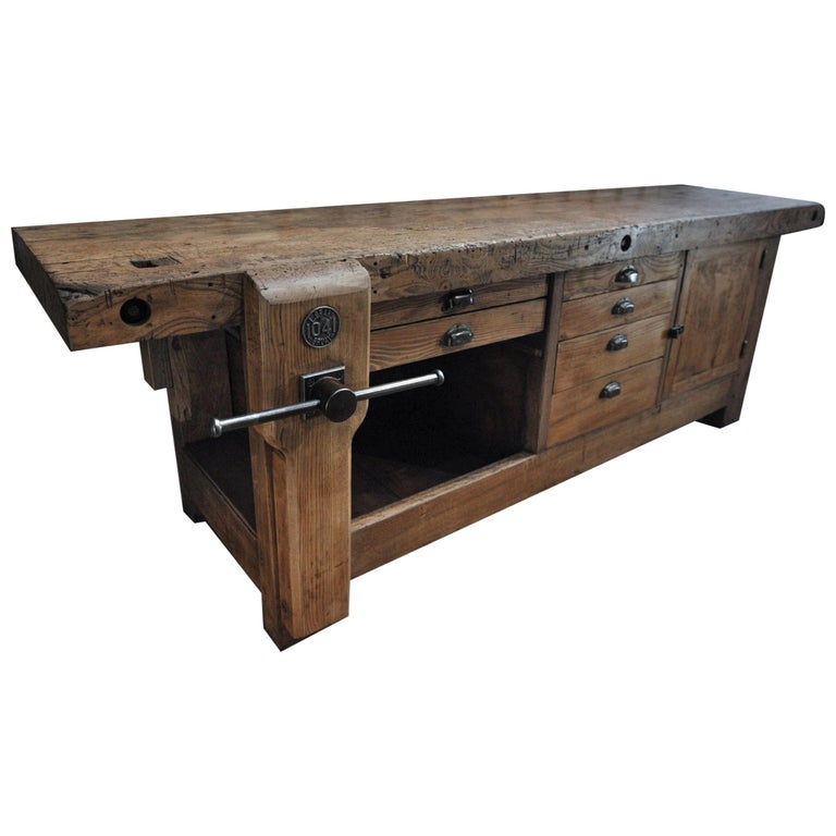 Large Carpenter Workbench with Vice 6 Drawers and 1 Door, circa 1920 For Sale