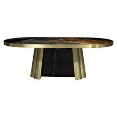 Koket Deco Diva Dining Table in Polished Sahara Noir Marble