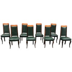 Suite of 8 Art Deco Chairs in Macassar Ebony and Leather