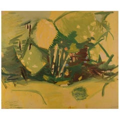 Hans Øllgaard, Abstract Landscape with Trees, Oil on Canvas