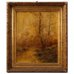 19th Century Oil on Canvas French Antique Signed Landscape Painting, 1880