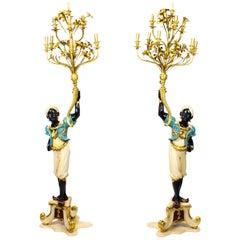 Antique Pair of Venetian Blackamoor 10 Branch Candelabra, Early 20th Century