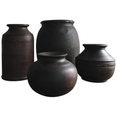 Very Chic Set of Antique Black Turned Wood Tibetian Vessels