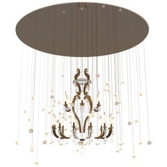 Contemporary 'Le Merveilleux Bronze' Chandelier in Bronze, Rock Cristal, Glass