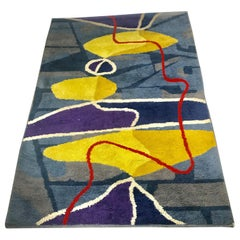 Rare Abstract Modernist Morrocan Wool Rug, Artisanat