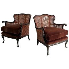 Pair of Italian Art Deco Rattan Armchairs Rococo Style, 1930s