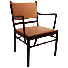 Armchair in Mahogany and Light Brown Leather by Ole Wanscher, 1960s