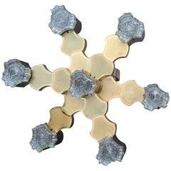 Round Sciolari Gold Aluminum Chandelier Italian Design 1970s Minimal Sculptural