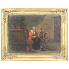 18th Century Flemish Oil Painting on Canvas Woman Who Weaves