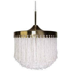 Classic Hans-Agne Jakobsson Midcentury Brass and Silk Fringed Pendant, 1960s