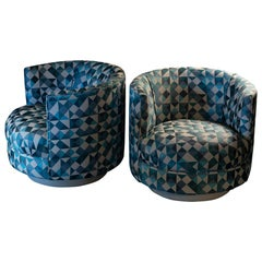 Contemporary Swivel Armchairs Milo Baughman Style in Light Blue Jacquard Fabric