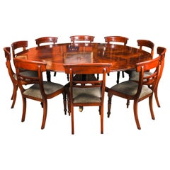 Vintage Flame Mahogany Jupe Dining Table and 10 Chairs, Mid-20th Century