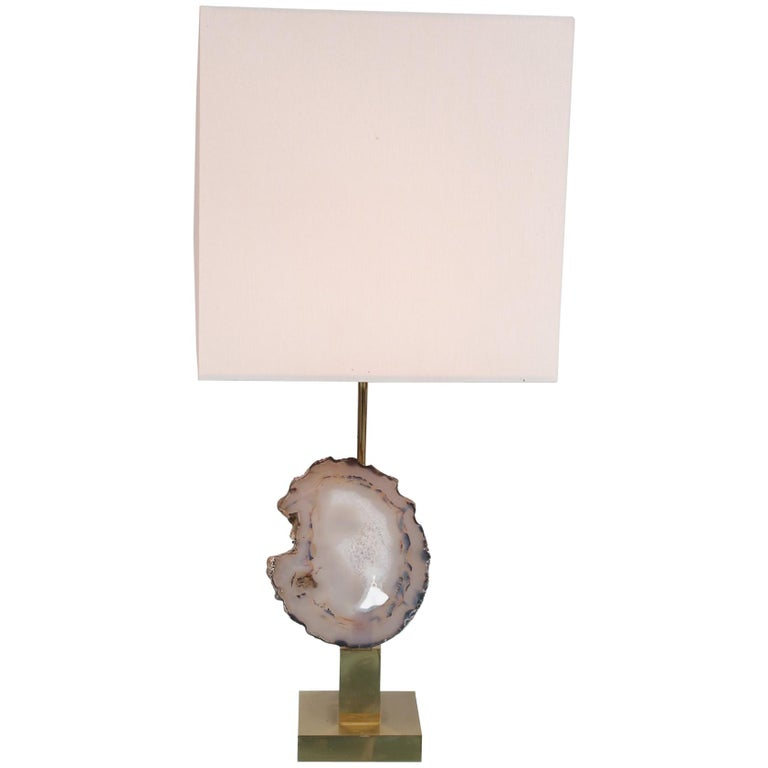 Agate Table Lamp in the Manner of Willy Daro, circa 1970 For Sale