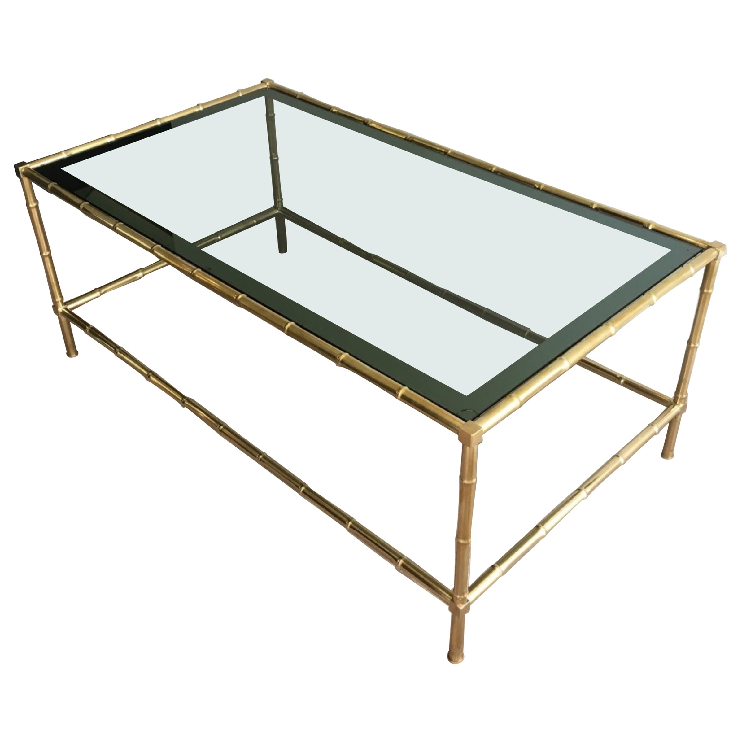 Faux-Bamboo Brass Coffee Table