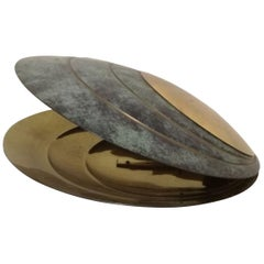 Bronze Table Lamp in the Form of a Clam Shell by Angelo Brotto