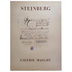 Original Saul Steinberg Exhibition Poster from Galerie Maeght