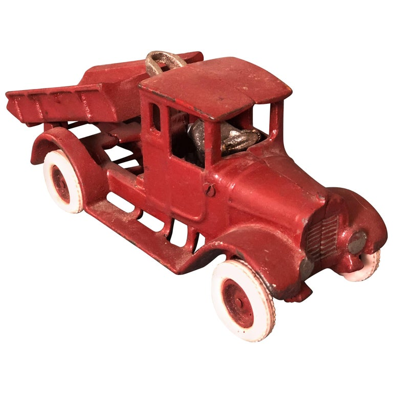 20th Century French Metal Model of a Red Toy Lorry Truck For Sale