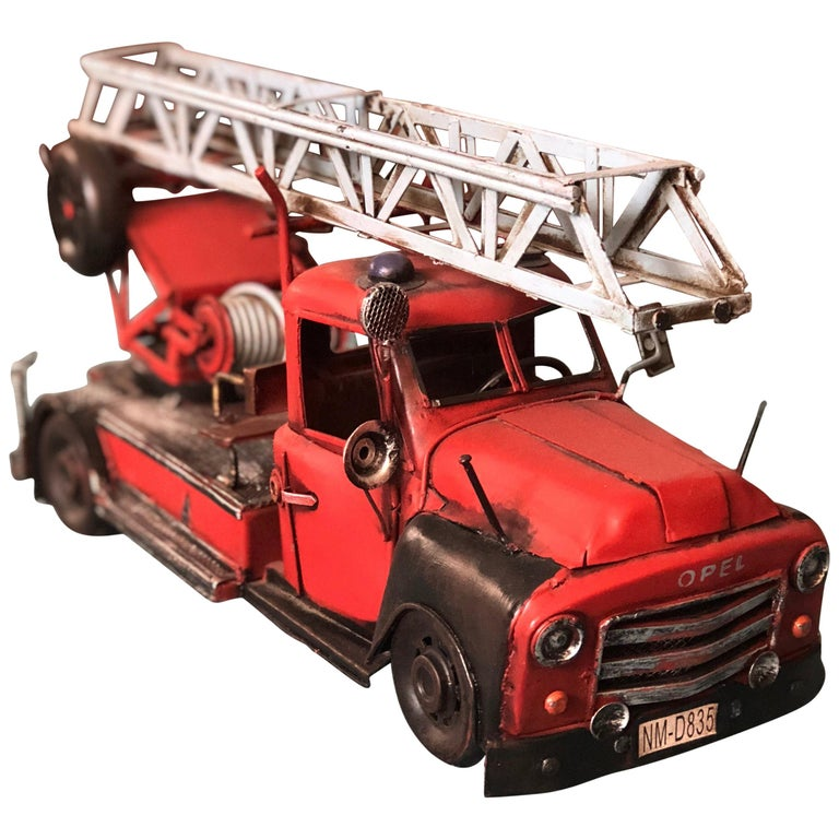 20th Century French Metal Model of a Red Toy Fire Truck For Sale