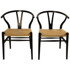 Pair of Black Wishbone Chairs, Y-Chair, Model CH24, Hans J. Wegner, 2008