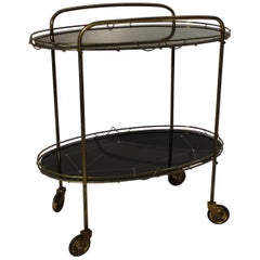 Tray Table with Patterned Black Plates and Frame of Brass from the 1930s