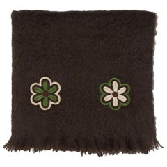 Paul - Hand Embroidered Brown Throw Blanket