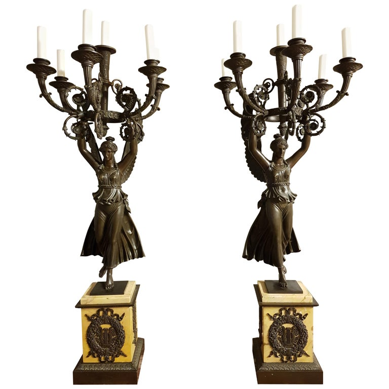 Pair of Empire Patinated Bronze Candelabra Attributed to Thomire For Sale