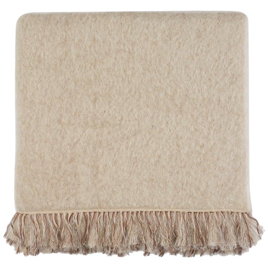 Brewster, Hand Embroidered Beige Throw Blanket