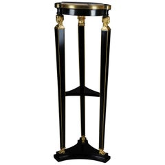 Classic Ebonized Karyadite Pillar / Pedestal in Empire Style
