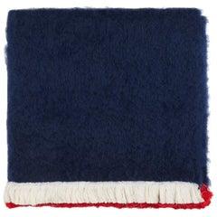 Bluff, Hand Embroidered Navy Throw Blanket