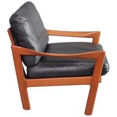 Illum Wikkelsø Armchair Teak and Leather Danish 1960s Midcentury Lounge Chair