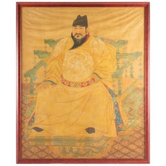 Portrait of Emperor Yongle on His Throne, Painting on Fabric, Early 20th Century