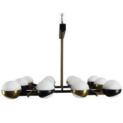 Rare Stilnovo Twelve-Branch Rectangular Brass Chandelier, Italy, 1950s