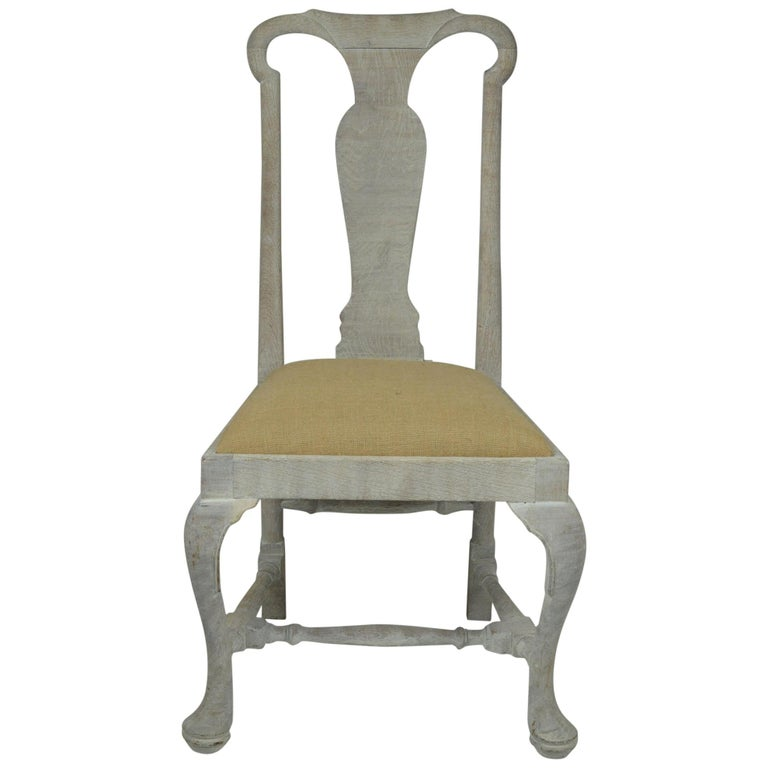 Set of Four Antique Limed Oak Chairs In Baroque Style For Sale