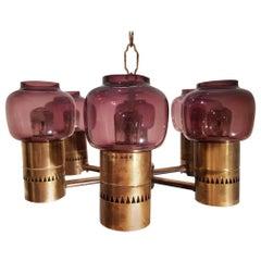 Hans-Agne Jakobsson Ceiling Lamp Brass and Purple Glass 1950s Markaryd Sweden
