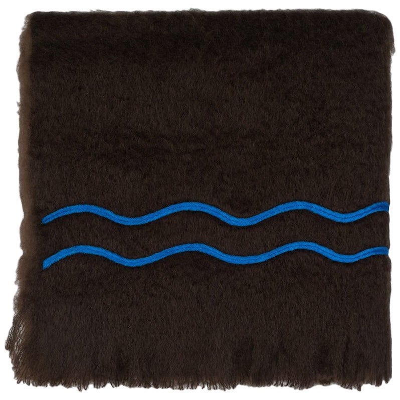 Suter, Hand Embroidered brown Throw Blanket