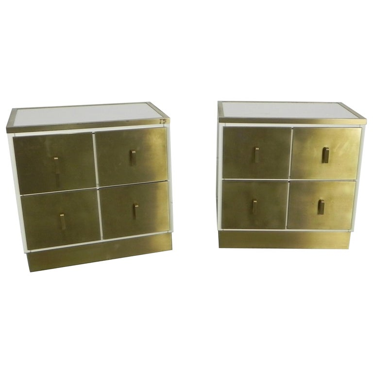 Frigerio Bedside Tables Nightstands Italian Brass and Wood, 1950 For Sale