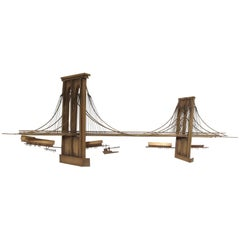 "Curtis Jere ""Brooklyn Bridge"" Brass Wall Sculpture, USA 1996"
