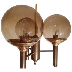 Svend Mejlstrom 2 Pendant Lights Brass and Glass 1960s Made in Norway