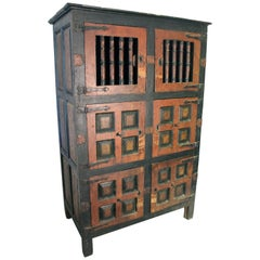 17th Century Spanish Painted Cabinet with Original Doors, Locks and Fittings